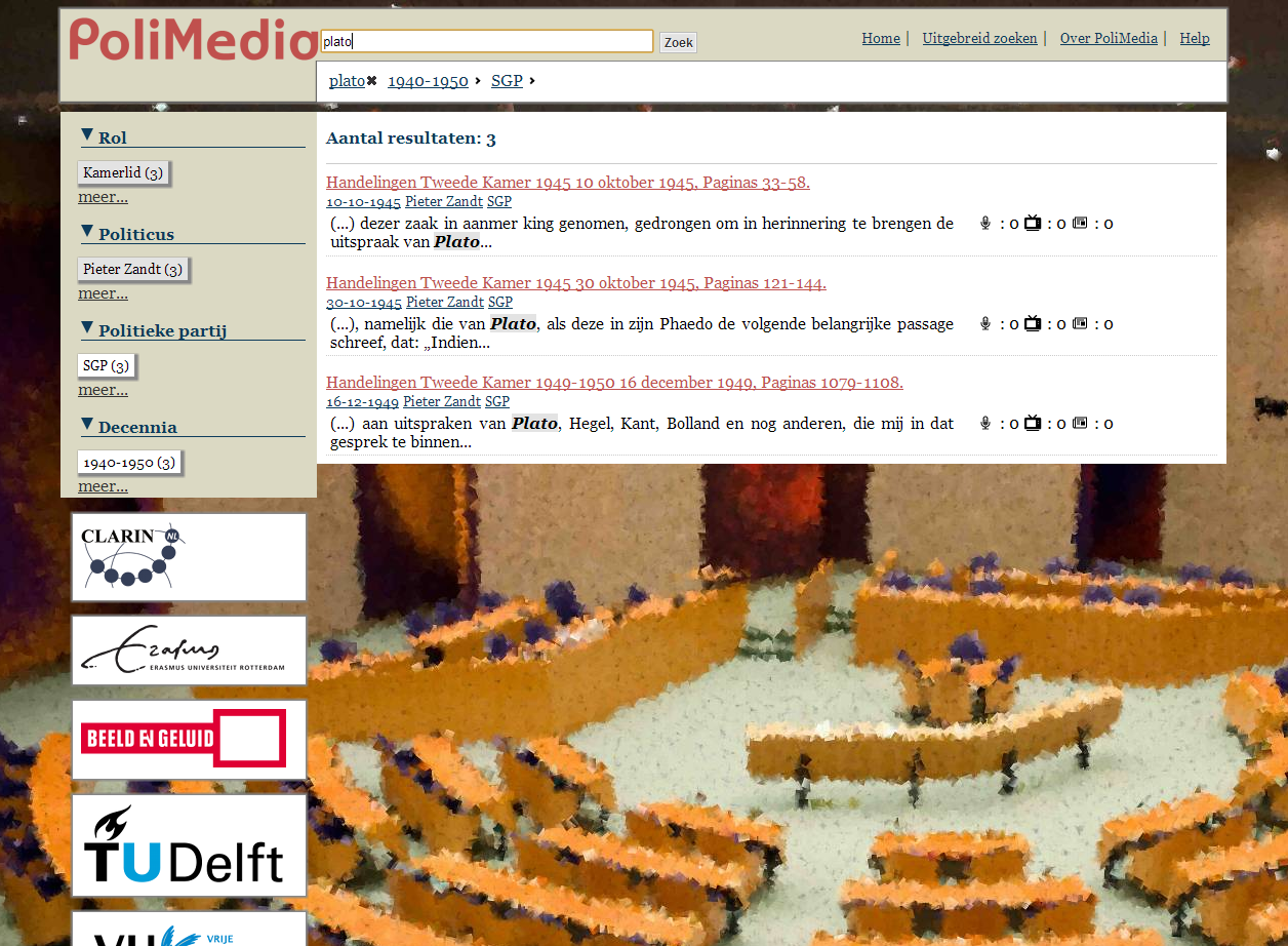 PoliMedia screenshot of filtered search results
