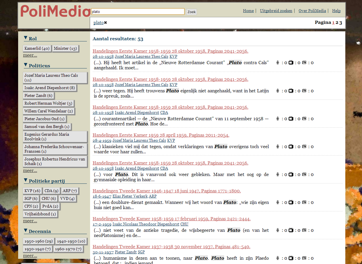 PoliMedia screenshot of search results