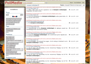 Figure 1. Screenshot of the PoliMedia search results page